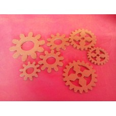 4mm thick MDF assorted cogs pack of 10